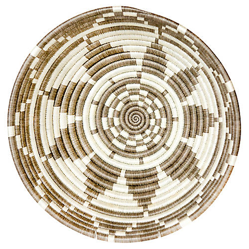 """12"""" Ikaze Large Basket, Taupe/Ivory"""