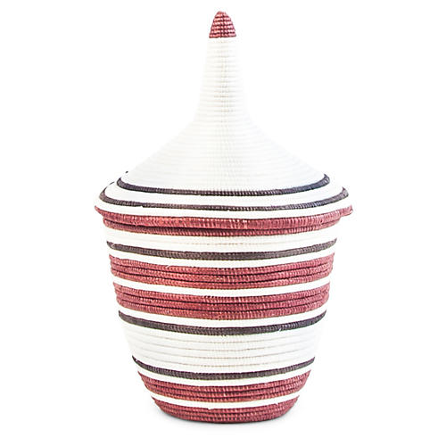 "9"" Cathedral Large Basket, White/Maroon"