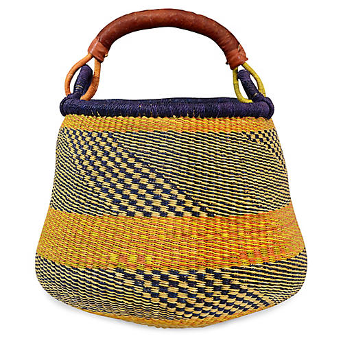 "15"" Accra Planter Basket, Purple/Yellow"