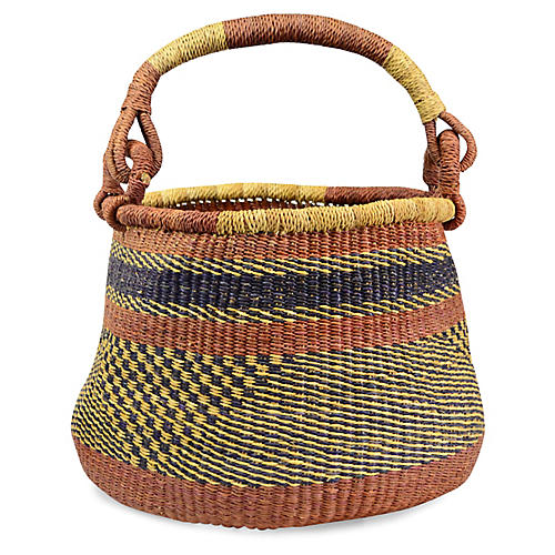 "15"" Tamele Planter Basket, Blue/Brown"