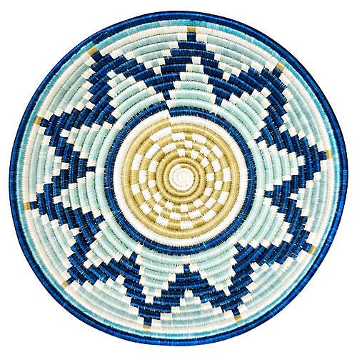 """14"""" Rwanda-Style Extra Large Basket, Silver Blue"""