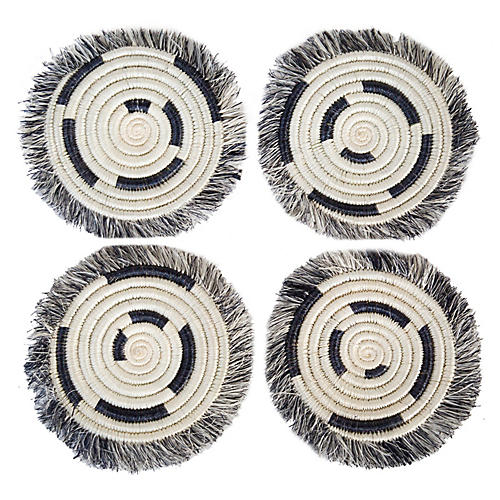 S/4 Geo Fringed Coasters, Black/White