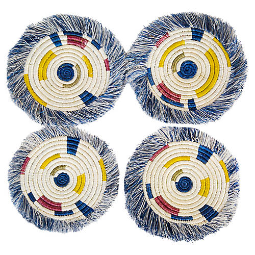 S/4 Festival Geo Fringed Coasters, Blue/Multi