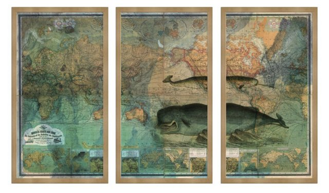 Oliver Gal, World Map Triptych