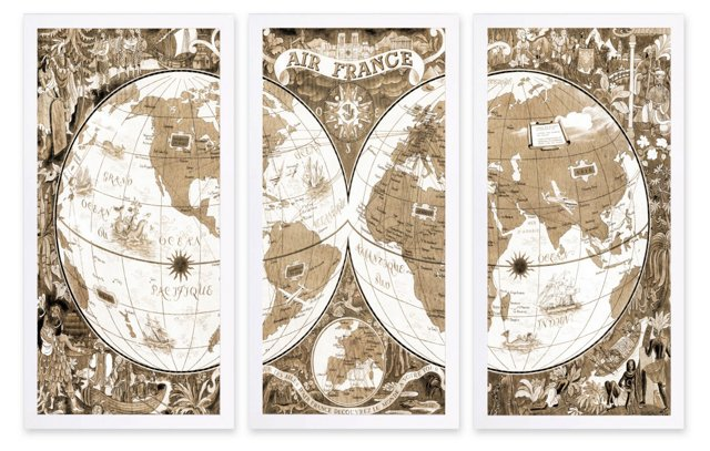 Oliver Gal, Air France 1952 Map Triptych