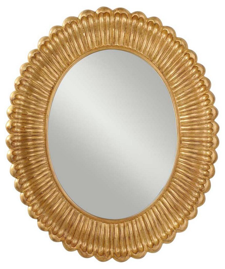 Vera Wall Mirror, Antiqued Gold