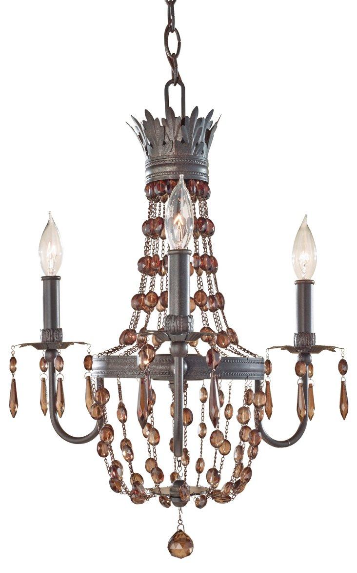 Marcia 3-Light Chandelier, Rustic Iron