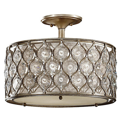 Lucia Ceiling Fixture, Burnished Silver