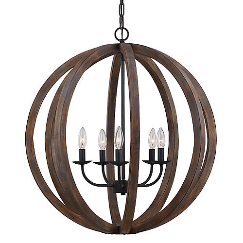 Alisa 5-Light Pendant, Oak