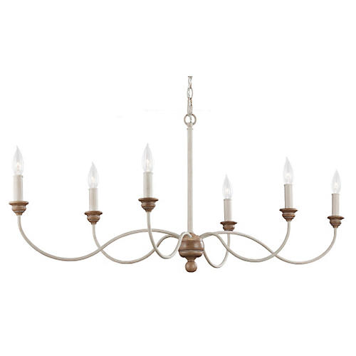 Palmira 6-Light Chandelier, Chalk Washed