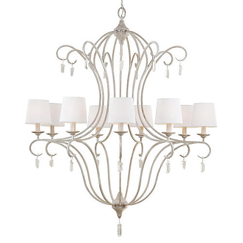 Caprice 9-Light Chandelier, Chalk Washed