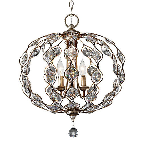 Leila 3-Light Chandelier, Silver