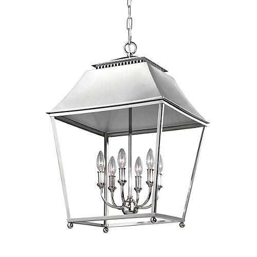 Galloway Foyer Pendant, Polished Nickel