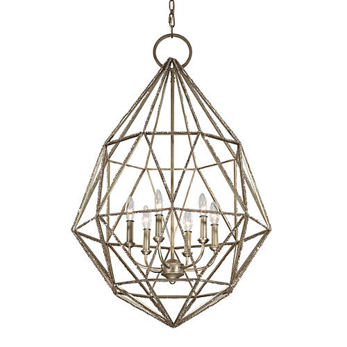 Marquise Chandelier, Burnished Silver