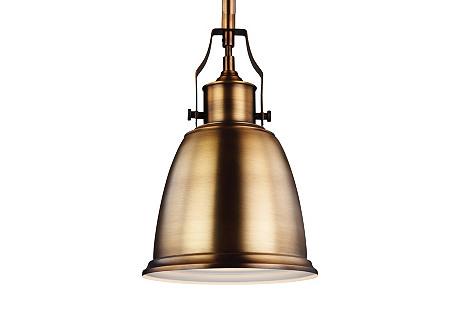 Hobson Mini-Pendant, Aged Brass