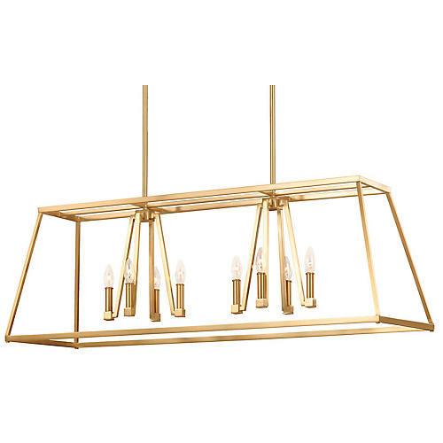 Conant 8-Light Chandelier, Satin Brass