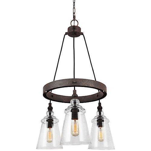 Loras 3-Light Chandelier, Weathered Iron/Clear