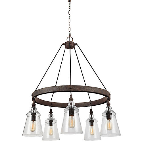 Loras 5-Light Chandelier, Weathered Iron/Clear