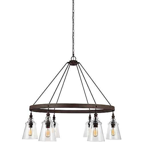 Loras 6-Light Chandelier, Weathered Iron/Clear