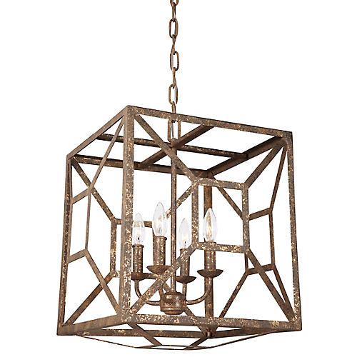 Marquelle 4-Light Chandelier, Distressed Gold
