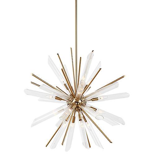 Quorra 16-Light Chandelier, Brass/Clear
