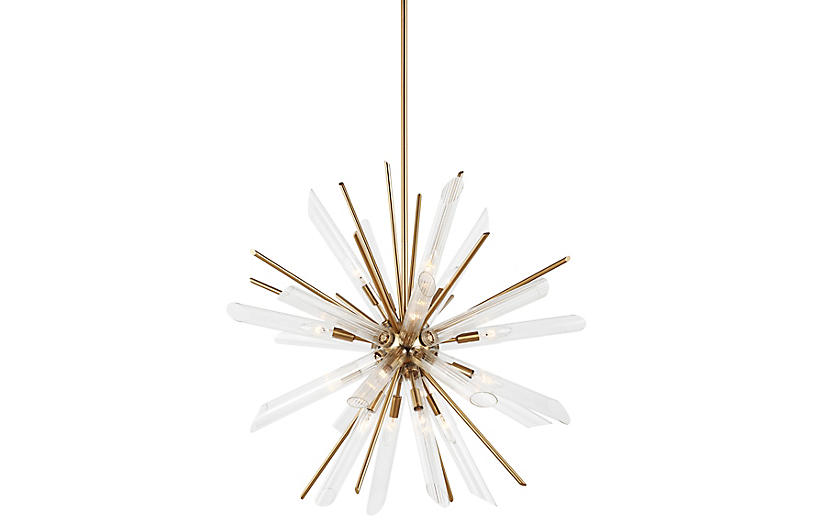 Quorra 16-Light Chandelier, Brass/Clear