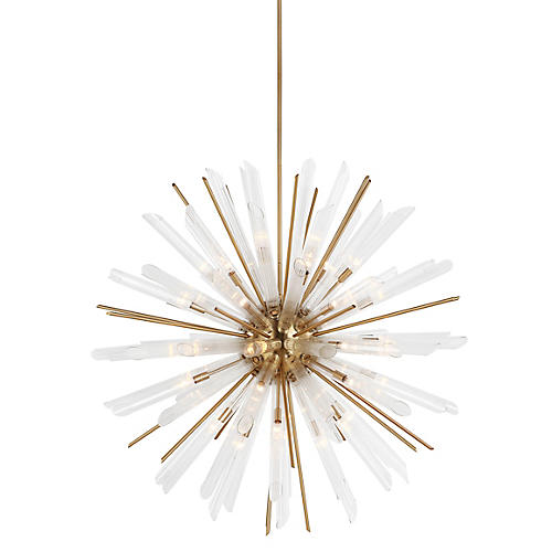 Quorra 41-Light Chandelier, Brass/Clear