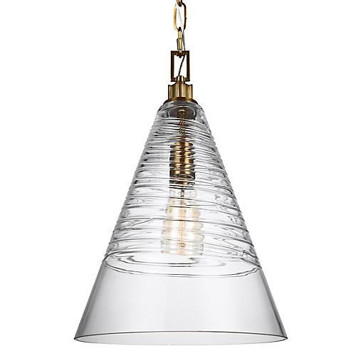 Elmore Cone Pendant, Clear/Brass