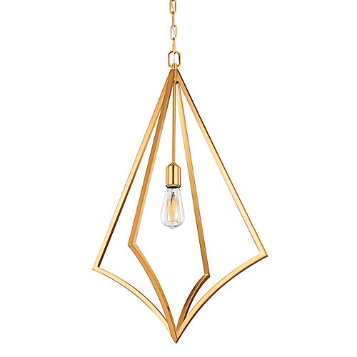 Nico Tall Pendant, Burnished Brass