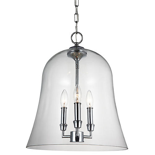 Lawler Bell Pendant, Chrome/Clear
