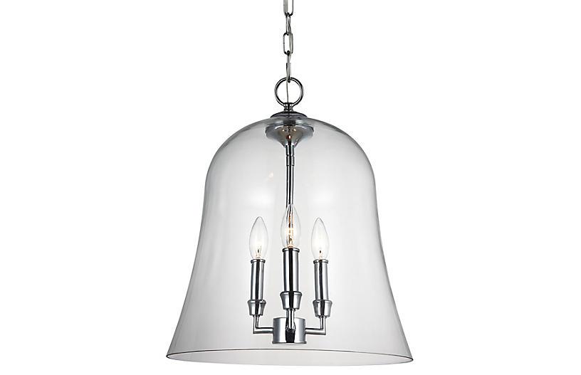 Lawler Bell Pendant, Chrome/Clear