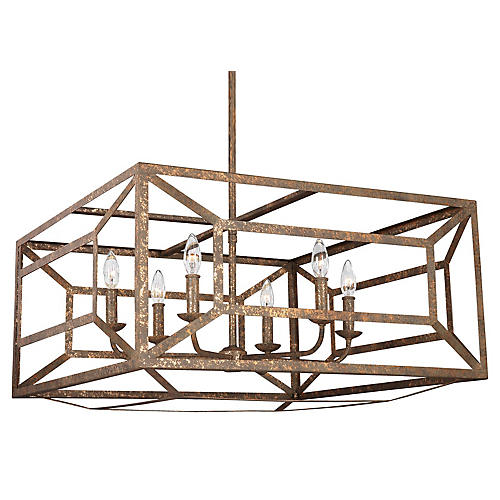 Marquelle Chandelier, Distressed Gold