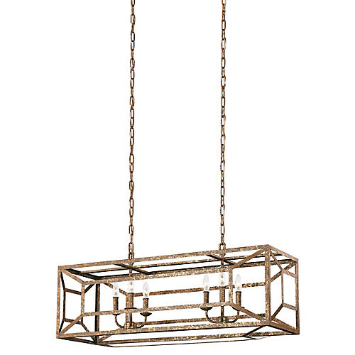 Marquelle Wide Chandelier, Distressed Gold