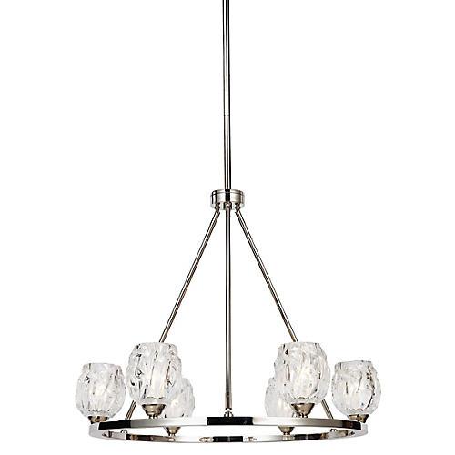 Rubin 6-Light Chandelier, Clear/Nickel
