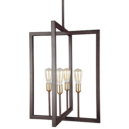Finnegan Tall Chandelier, New World Bronze
