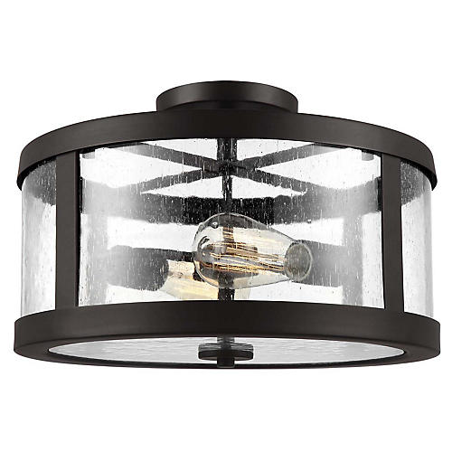 Harrow 2-Light Semi-Flush Mount, Bronze