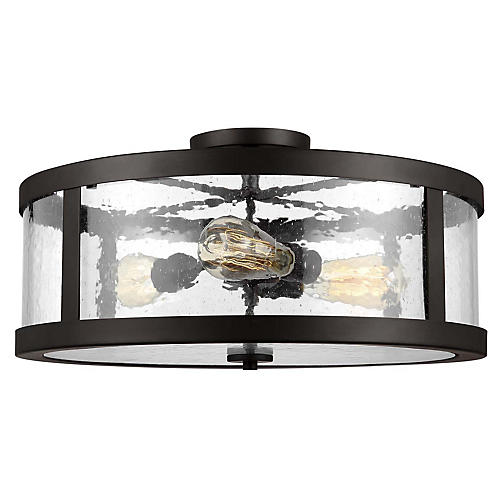 Harrow 3-Light Semi-Flush Mount, Bronze