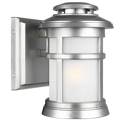 Newport Small Outdoor Sconce, Brushed Steel