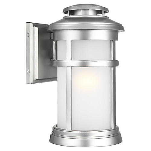 Newport Medium Outdoor Sconce, Brushed Steel
