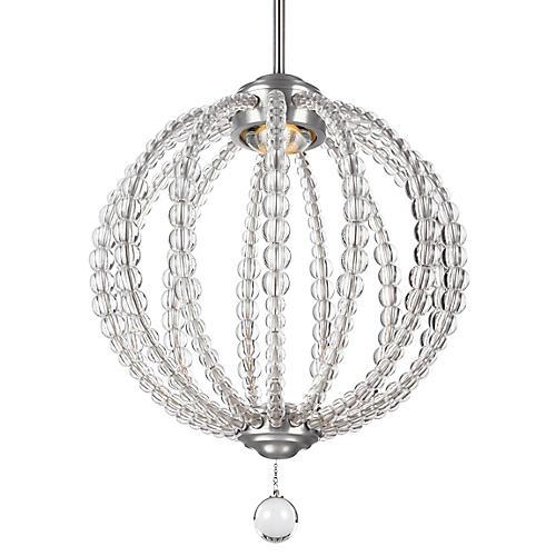Oberlin Small Pendant, Satin Nickel/Crystal