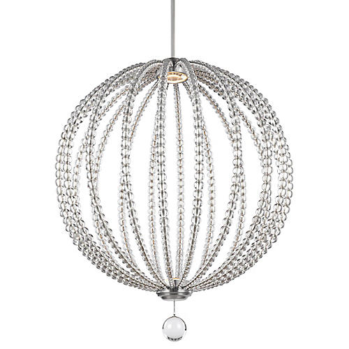 Oberlin Large Pendant, Satin Nickel/Crystal