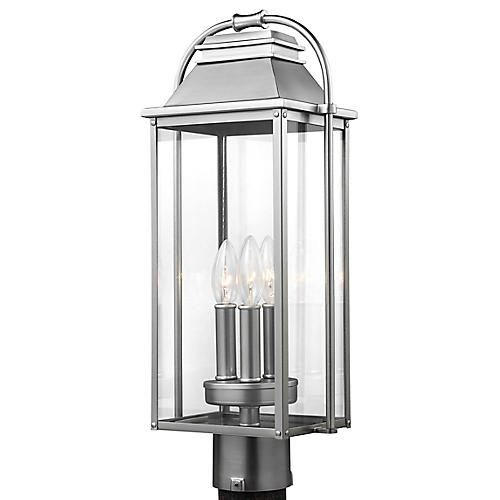 Wellsworth Outdoor Post Lantern, Brushed Steel