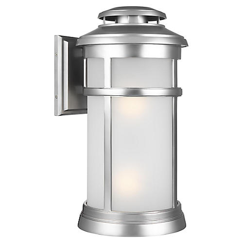 Newport 2-Light Outdoor Sconce, Brushed Steel