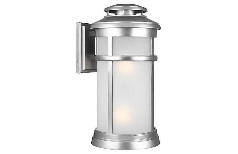 Newport 2-Light Outdoor Sconce, Brushed Steel