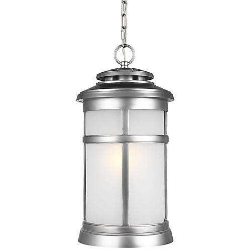 Newport Outdoor Hanging Lantern, Brushed Steel
