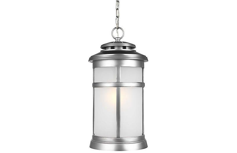 Newport Outdoor Hanging Lantern, Brushed Steel