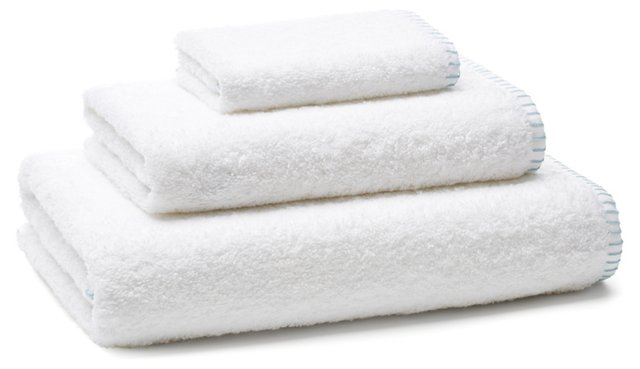 Whip-Stitch Towel Set, Aegean