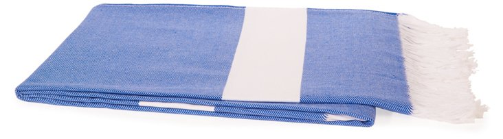 Fringed Cotton Throw, Blue