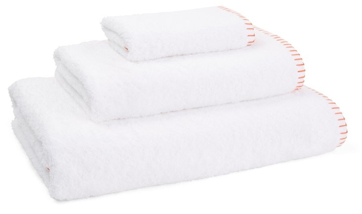 3-Pc Whipstitch Towel Set, Tiger Lily