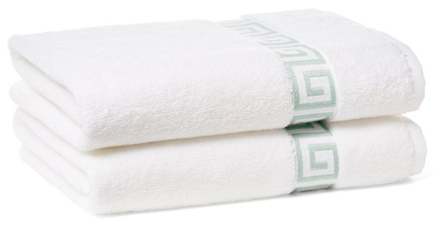 S/2 Greek Key Hand Towels, White/Mint